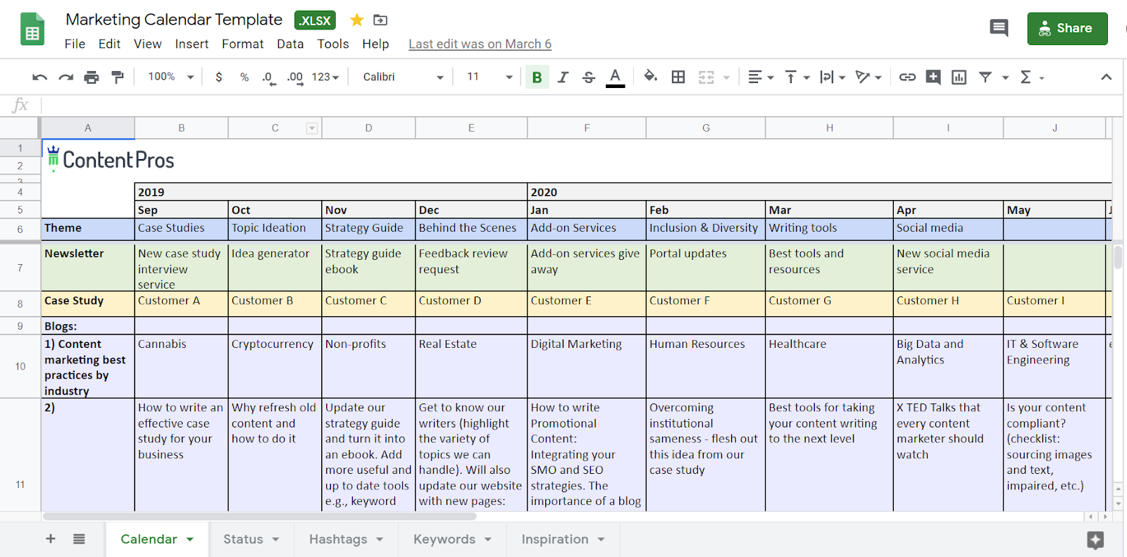 content calendar / editorial calendar