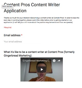Content Pros Content Writer Application