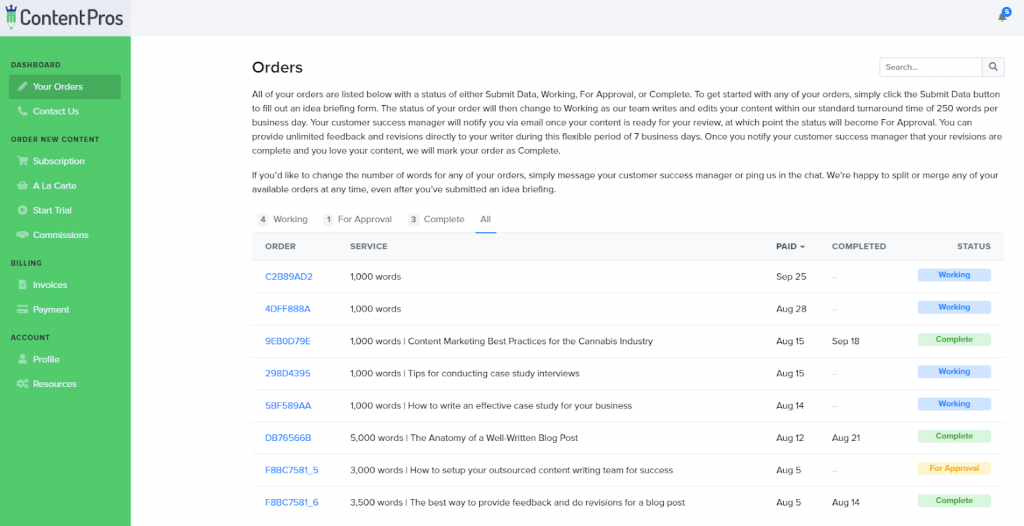 Content Pros customer portal
