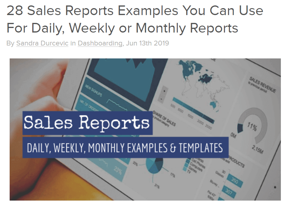 datapine 28 Sales Report Examples You Can Use For Daily, Weekly or Monthly Reports