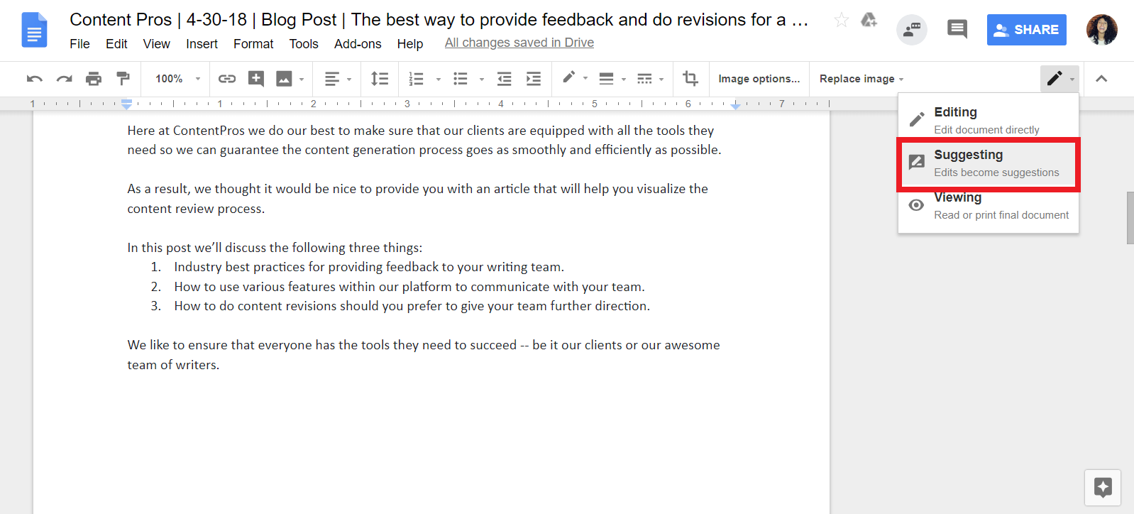 Best Practices for Providing Feedback and Doing Revisions with Content Pros