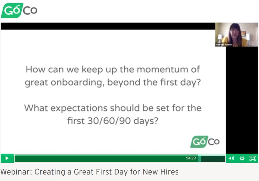 GOCO webinar on how to create a great first day for new hires