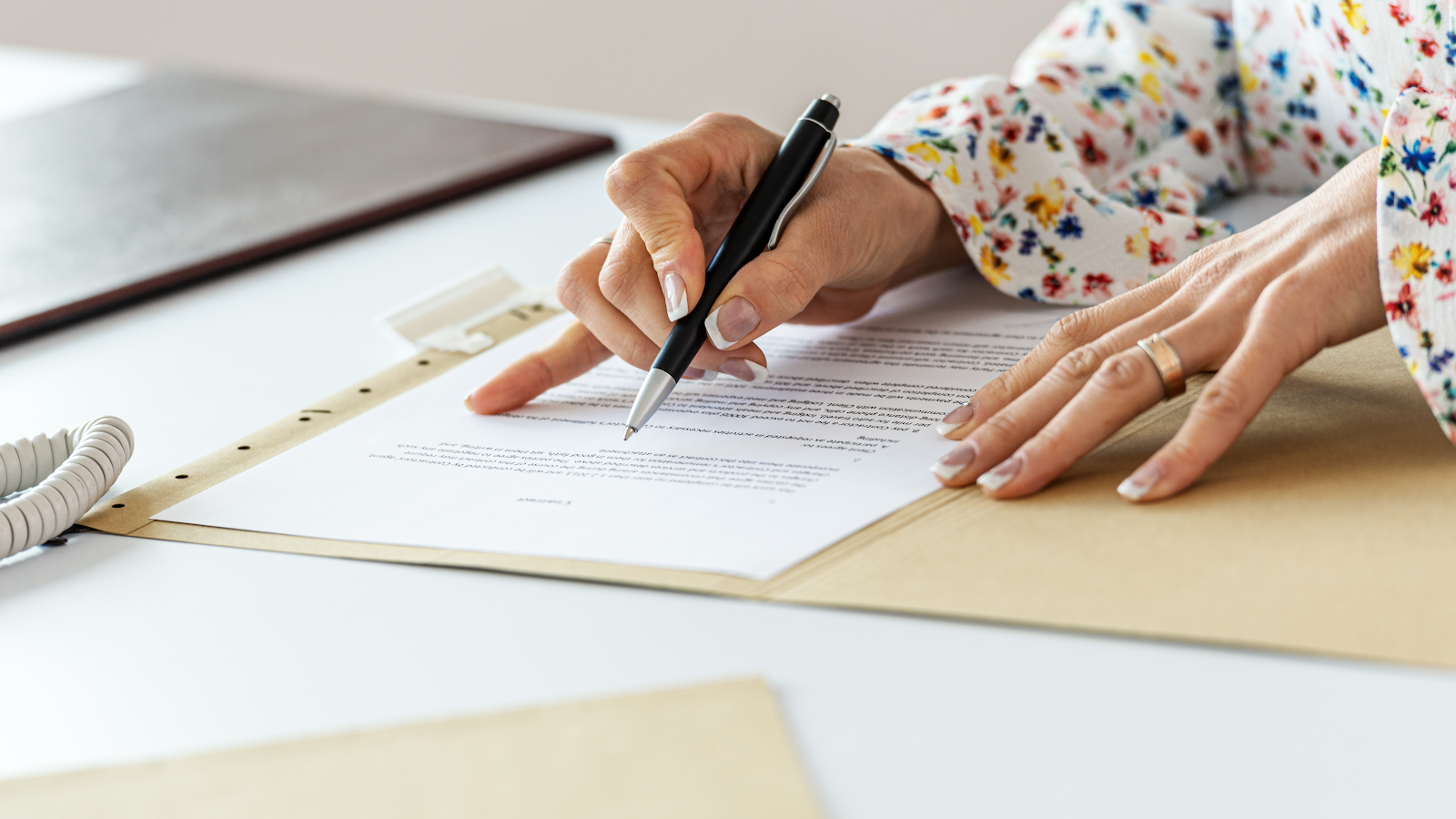woman proofreading a document