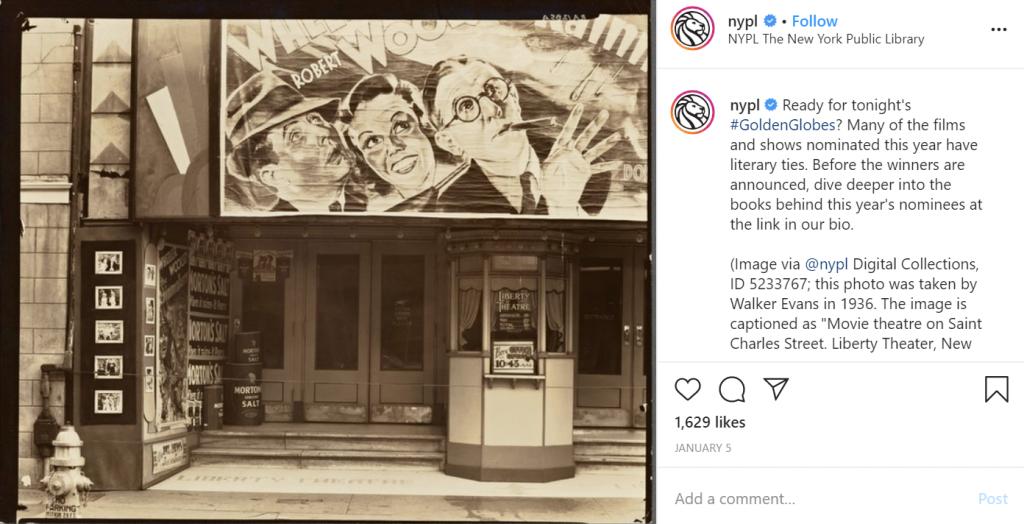 New York Public Library's Instagram