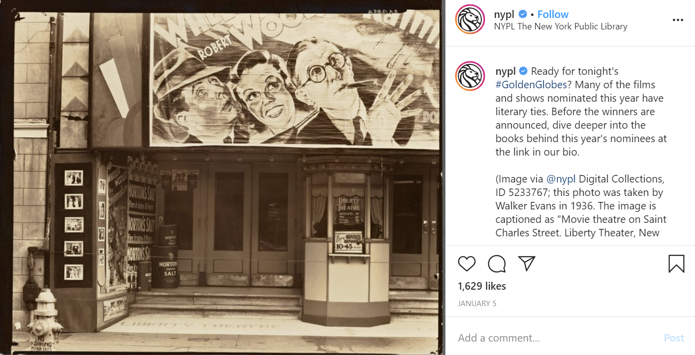 New York Public Library's Instagram