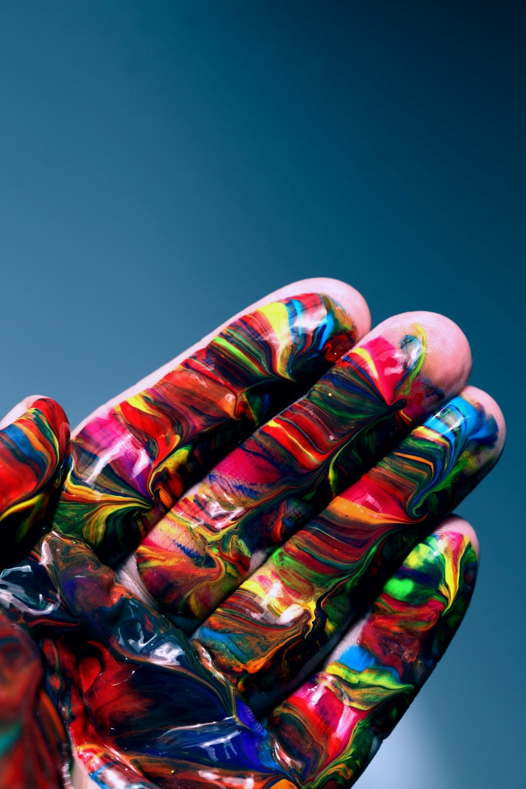 unique colorful paint on a hand