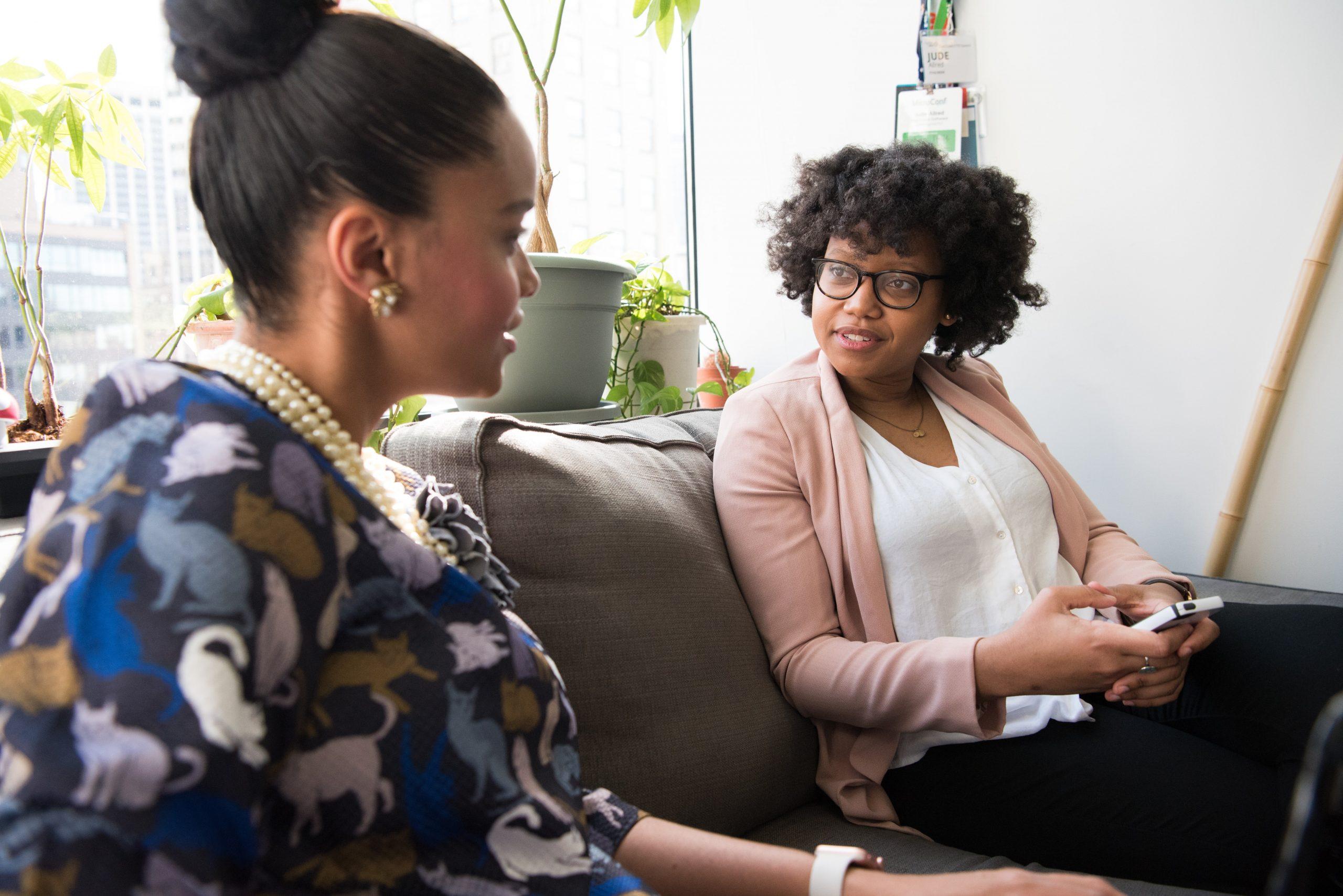 Diverse marketing team discussing difficult topics