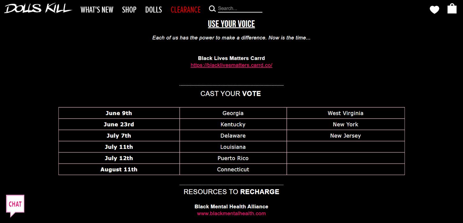 Dolls Kill Black Lives Matter web page screenshot