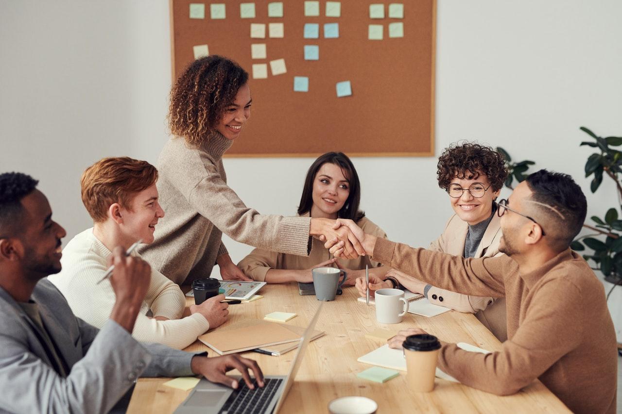 diverse team having a meeting