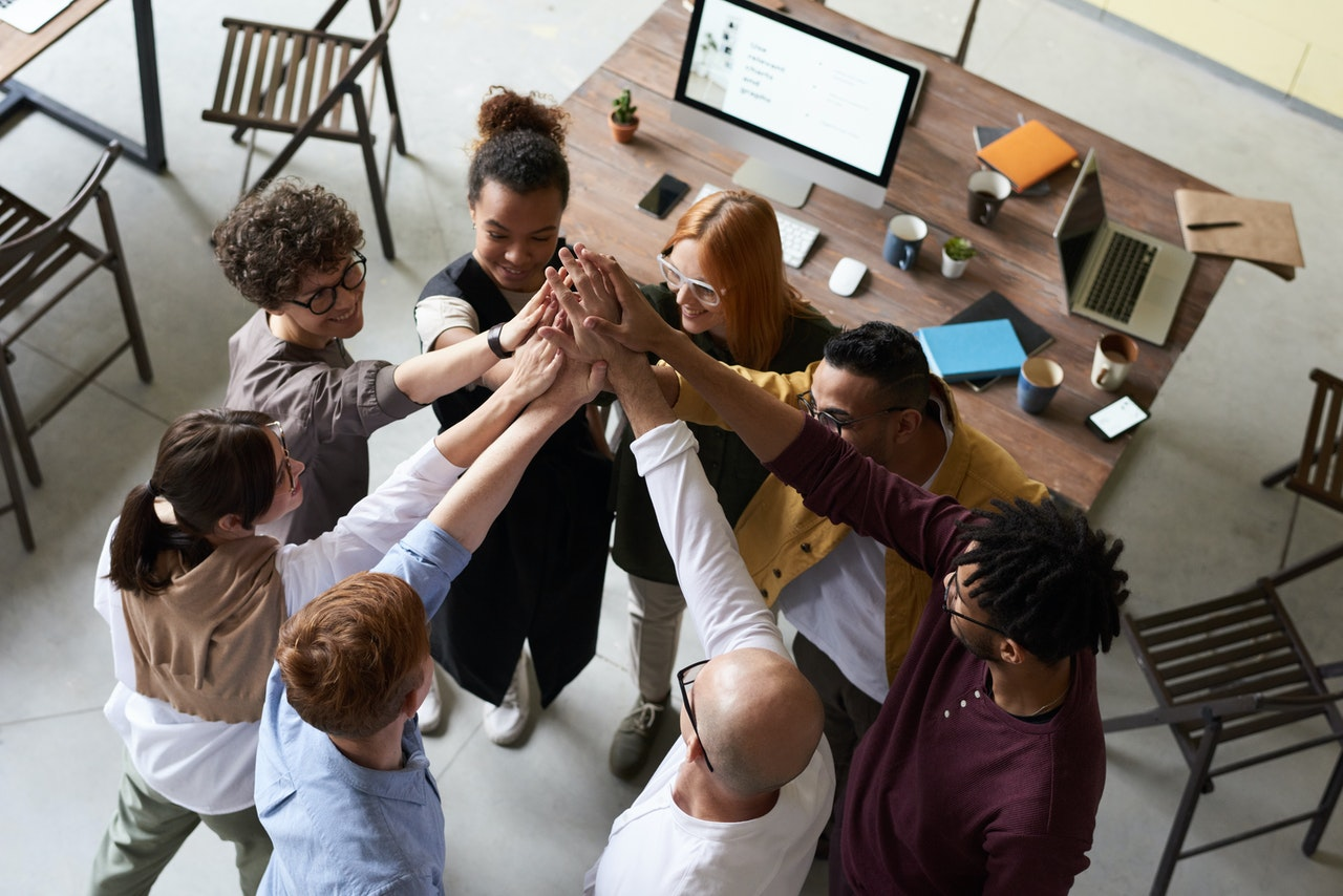 diverse team working together