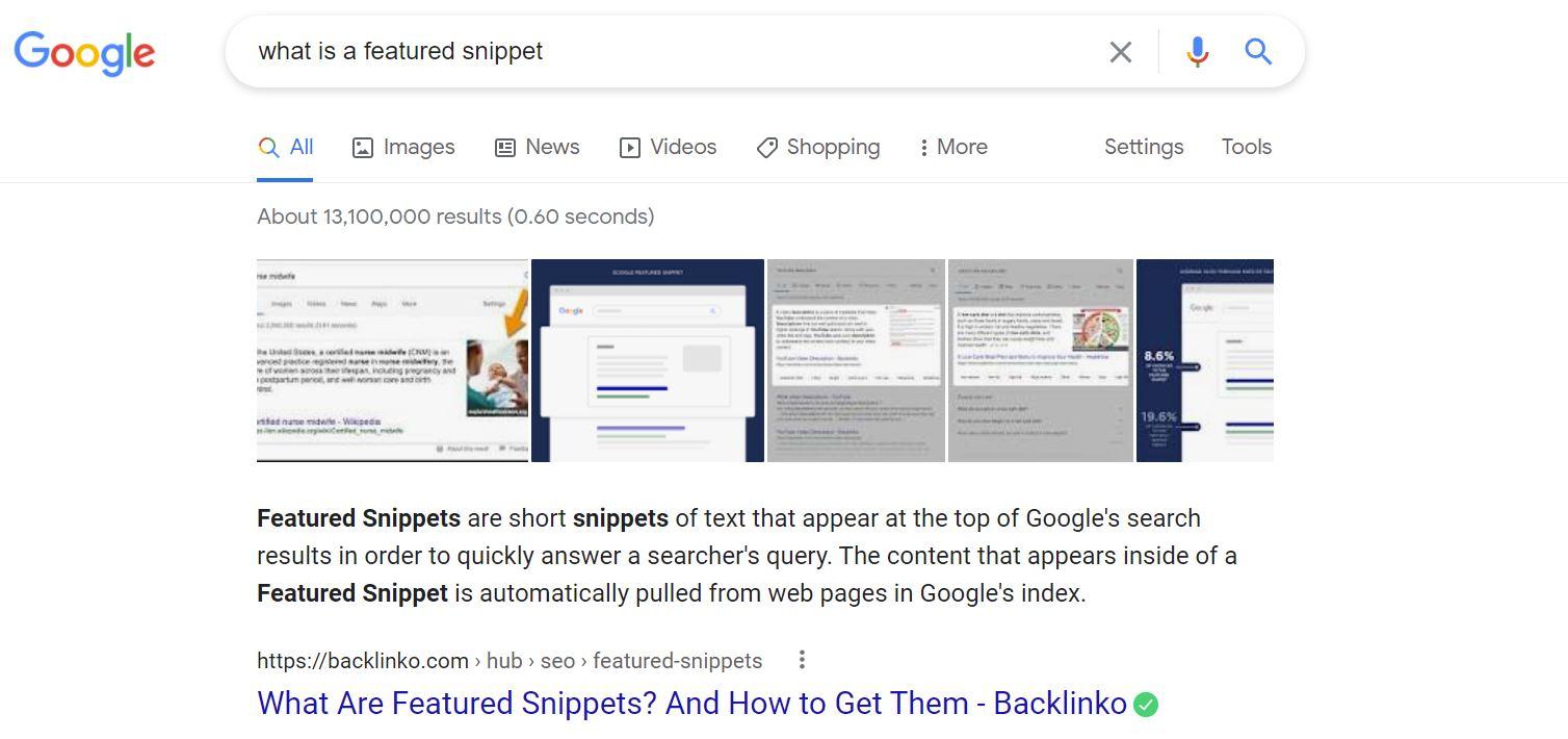 google featured snippet screenshot